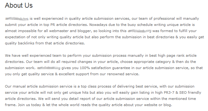 A so-called professional artical writing service